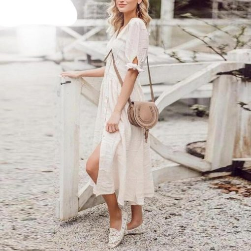Weißes langes Kleid hippie france